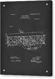 Wright Brothers Flying Machine 1906 Patent Art Black Acrylic Print