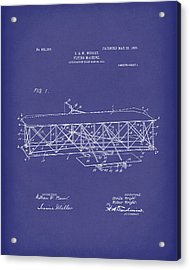 Wright Brothers Flying Machine 1906 Patent Art Blue Acrylic Print