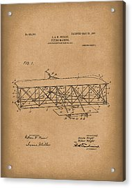Wright Brothers Flying Machine 1906 Patent Art Brown Acrylic Print