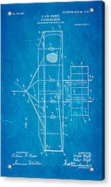 Wright Brothers Flying Machine Patent Art 2 1906 Blueprint Acrylic Print by Ian Monk