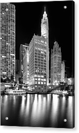 Wrigley Building Reflection In Black And White Acrylic Print by Sebastian Musial