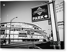 Wrigley Field And Wrigleyville Signs In Black And White Acrylic Print by Paul Velgos