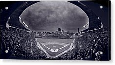 Wrigley Field Night Game Chicago Bw Acrylic Print by Steve Gadomski