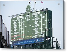 Wrigley Field Scoreboard Sign Acrylic Print by Paul Velgos