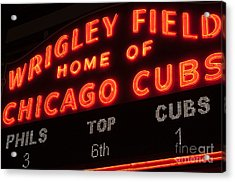 Wrigley Field Sign At Night Acrylic Print by Paul Velgos