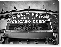 Wrigley Field Sign In Black And White Acrylic Print by Paul Velgos