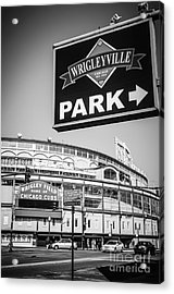 Wrigleyville Sign And Wrigley Field In Black And White Acrylic Print by Paul Velgos
