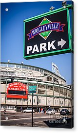 Wrigleyville Sign And Wrigley Field Acrylic Print by Paul Velgos