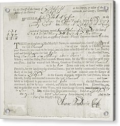 Writ Of Debt, 1762 Acrylic Print