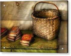 Writer - A Basket And Some Books Acrylic Print by Mike Savad