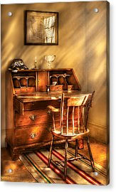 Writer - A Chair And A Desk Acrylic Print by Mike Savad