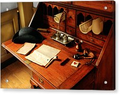 Writer - The Desk Of A Gentleman  Acrylic Print by Mike Savad