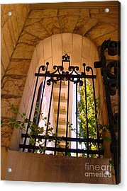 Acrylic Print featuring the photograph Wrought Iron Arch Window 1 by Becky Lupe