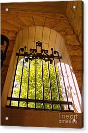Acrylic Print featuring the photograph Wrought Iron Arch Window by Becky Lupe