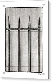 Wrought Iron Gate In Black And White Acrylic Print by Brenda Bryant