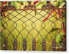 Wrought Iron With Red And Green Acrylic Print by Kathleen K Parker