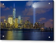 Wtc Tribute In Lights Nyc 1 Acrylic Print by Susan Candelario