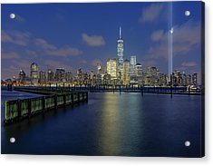 Wtc Tribute In Lights Nyc 2 Acrylic Print by Susan Candelario