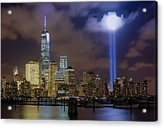 Wtc Tribute In Lights Nyc Acrylic Print by Susan Candelario