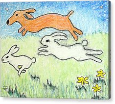 Wunning Wif Wabbits Acrylic Print by Kenny Henson