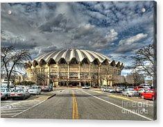 Wvu Basketball Coliseum Arena In Daylight Acrylic Print by Dan Friend