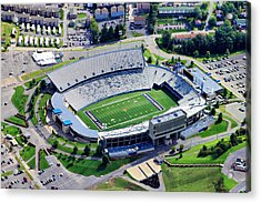 Wvu Mountaineer Stadium Aerial Acrylic Print by Pittsburgh Aerials