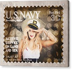 Wwi Recruiting Postage Stamp. Navy Sailor Girl Acrylic Print