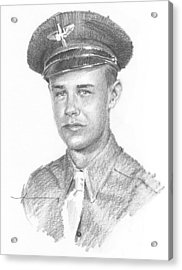 Wwii Military Dad Pencil Portrait Acrylic Print by Mike Theuer
