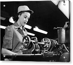 Wwii Woman War Worker Acrylic Print by Underwood Archives