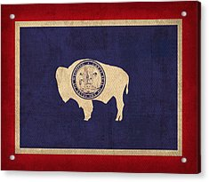 Wyoming State Flag Art On Worn Canvas Acrylic Print by Design Turnpike