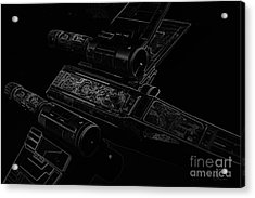 X Wing Fighter Bw Acrylic Print by Chris Thomas