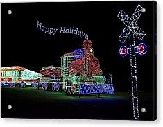 Xmas Tree Train Happy Holidays Acrylic Print by Thomas Woolworth