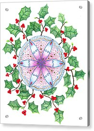 Acrylic Print featuring the drawing X'mas Wreath by Keiko Katsuta
