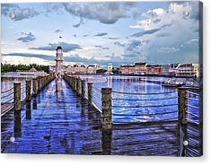 Yacht And Beach Club Lighthouse Acrylic Print by Thomas Woolworth