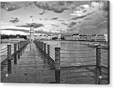 Yacht And Beach Lighthouse In Black And White Walt Disney World Acrylic Print by Thomas Woolworth