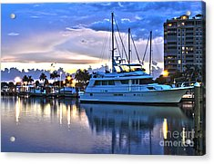 Acrylic Print featuring the photograph Yacht At Marina In Cape Coral by Timothy Lowry