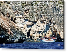 Yacht In Sea Near Popeye Village Acrylic Print