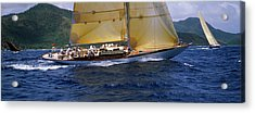 Yacht Racing In The Sea, Antigua Acrylic Print by Panoramic Images