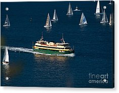 Yachts And Manly Ferry On Sydney Harbour Acrylic Print