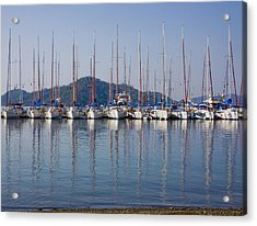 Yachts Docked In The Harbor Gocek Acrylic Print by Christine Giles
