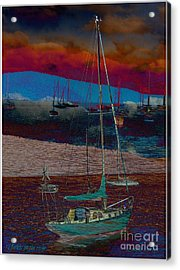 Acrylic Print featuring the photograph Yachts On The River by Leanne Seymour