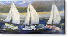 Yachts Sailing Off The Coast Acrylic Print