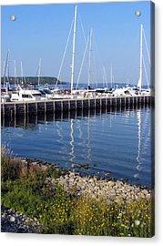 Yachtworks Marina Sister Bay Acrylic Print by David T Wilkinson