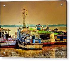 Acrylic Print featuring the photograph Yangon Harbour by Wallaroo Images