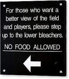 Yankee Stadium Lower Bleachers Sign Acrylic Print by Bill Cannon