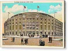 Yankee Stadium Postcard Acrylic Print by Bill Cannon
