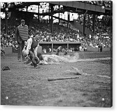 Yankees Lou Gehrig Scores Head First In The 4th Inning Acrylic Print by Underwood Archives