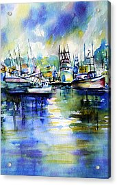 Yaquina Bay Boats Acrylic Print
