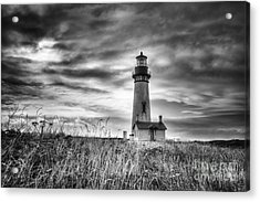 Yaquina Head Lighthouse Black And White Acrylic Print by Mark Kiver