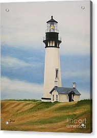 Acrylic Print featuring the painting Yaquina Head Lighthouse by Jimmie Bartlett